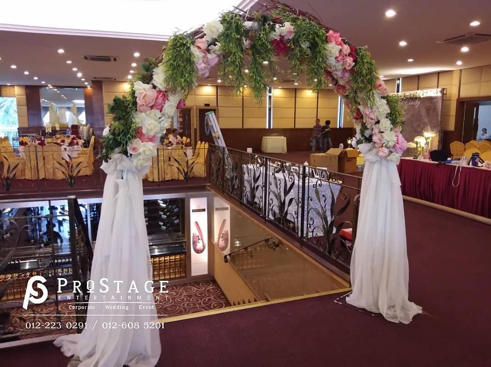 happiness door frame wedding flower