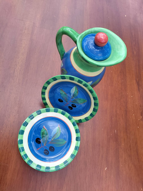 Tricolor Porcelain Vase + Plates