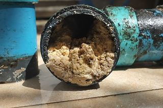 Pipe blocked by fat, oil and grease