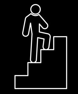 graphic showing person climbing steps