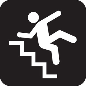 graphic showing person falling down steps