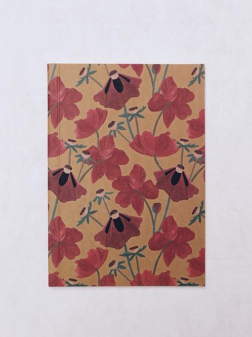 caderno wildness • estampa floral vermelho