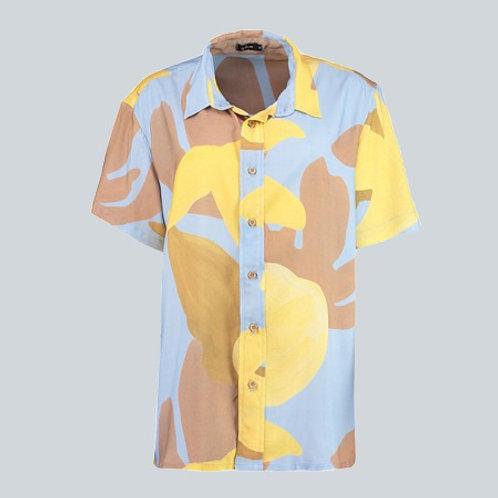 camisa unissex coral azul