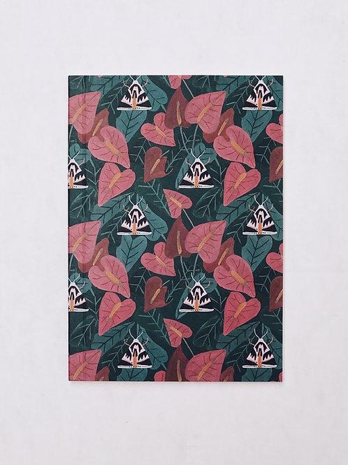 caderno wildness • estampa antúrio rosa e vermelho