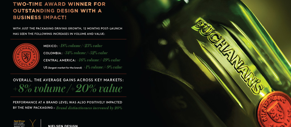 forceMAJEURE and Diageo's Buchanan's redesign wins GOLD at DBA's 2017 Design Effectiveness Awards