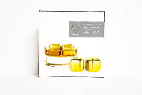 VISKI Glacier Rocks® - Small Gold Cubes (Set of 4)