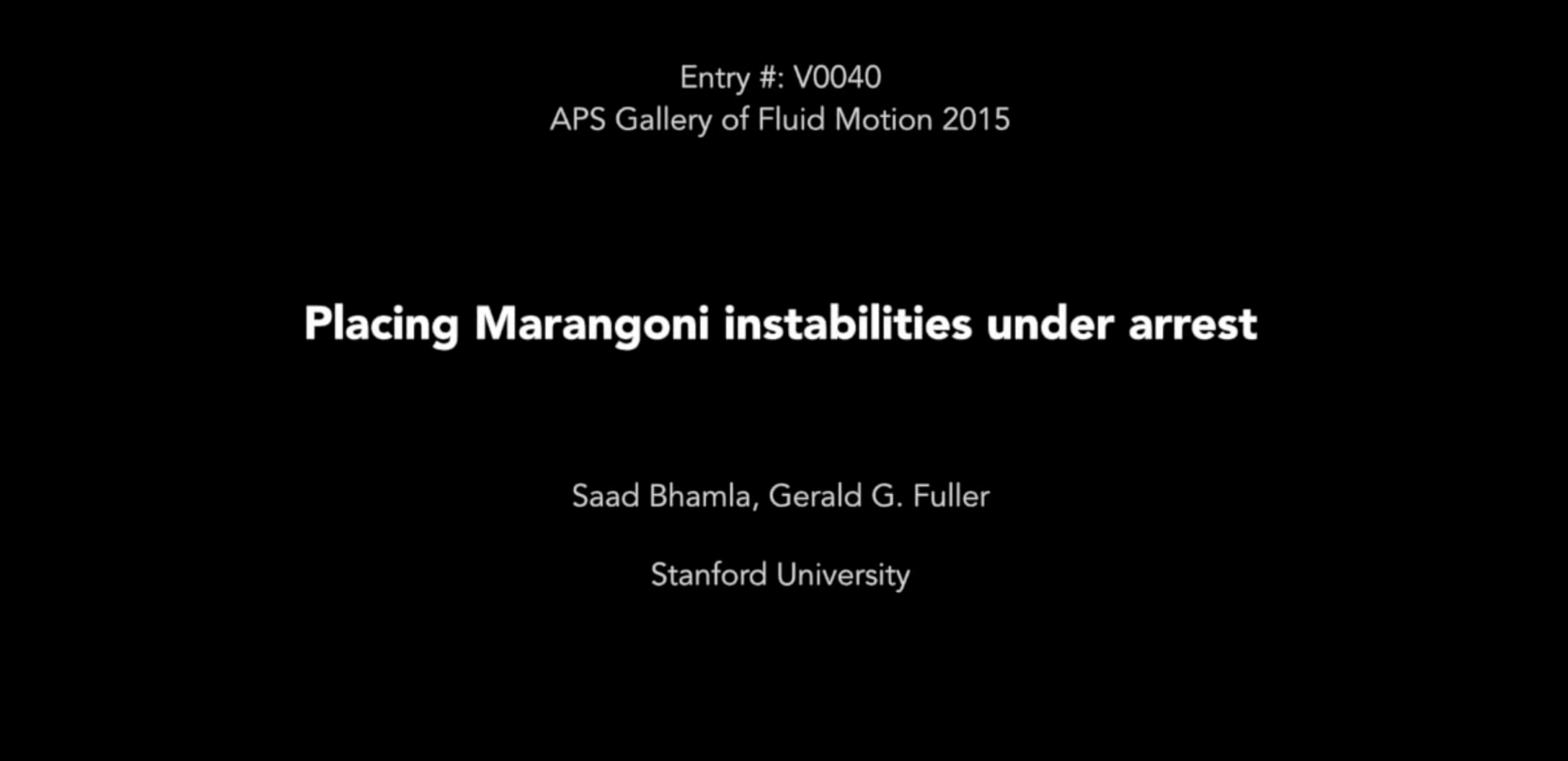 Milton van Dyke award video at APS-DFD Gallery of Fluid Motion (2015)