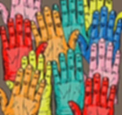 Multi-colored hands raised