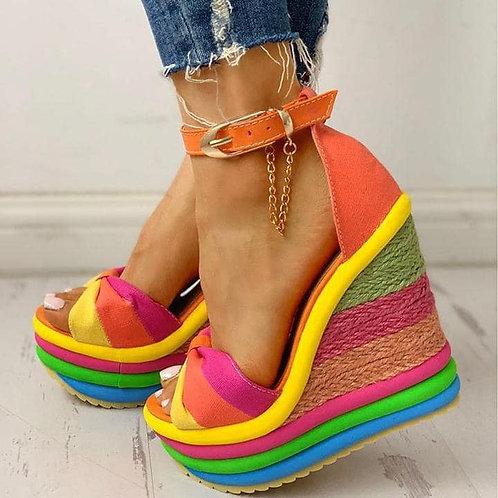 Rainbow Wedges Peep Toe