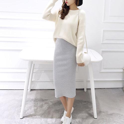 High Waist Knit Pencil Skirt