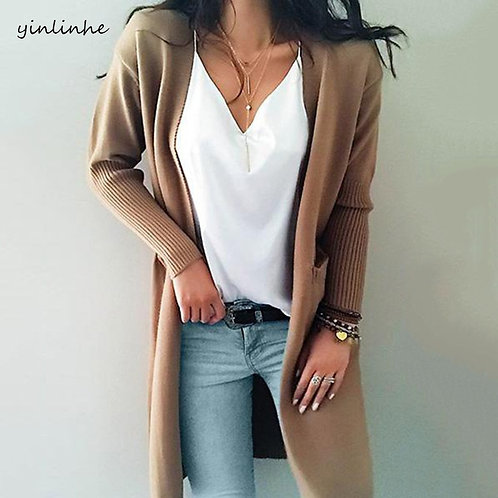 Long Cashmere Knit Cardigan