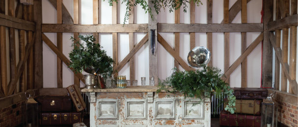 Florence, our antique white Tudor style portable bar.  Set up in an Gate Street Barn with curated vintage props