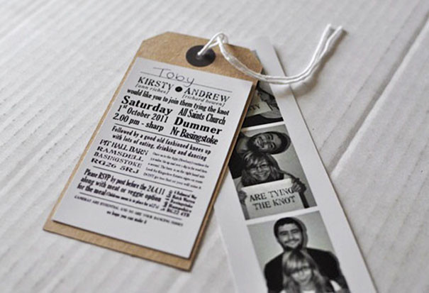 A strip of passport photos of the lucky couple with a brown tag attached with the wedding information on. . Available with our creative bar service based in Surrey.