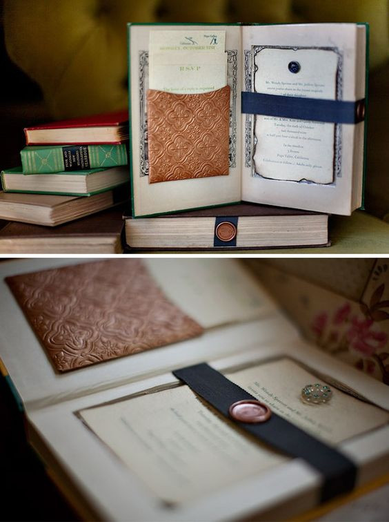 A handmade and arts & craft approach to a wedding invitation. Incorporating hollowed out books and a secret message. Available with our creative bar service based in Surrey.