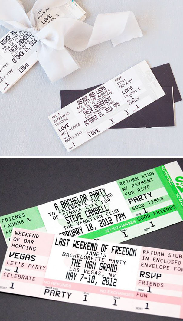 Created to replicate tickets, this wedding invitation is rectangular in size whilst the font and layout are similar to a concert ticket.