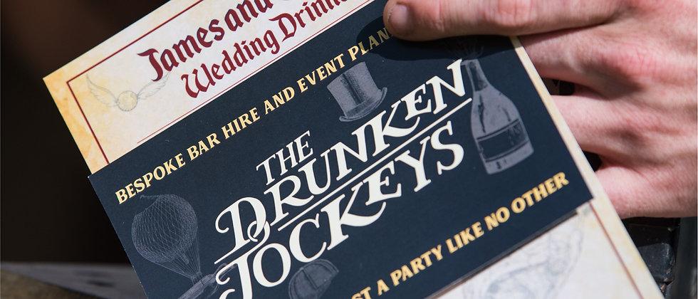 A custom menu for a Summer wedding with a Drunken Jockeys flyer on top. We always offer custom menu design for Surrey events.