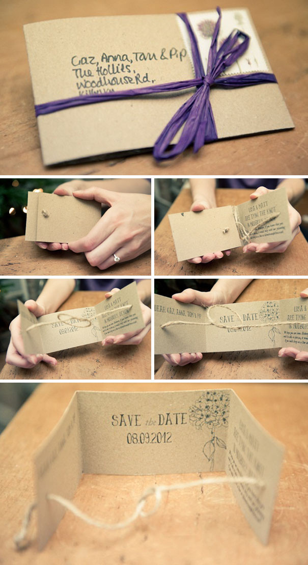 An elegant and hand made wedding invitation incorporating a purple bow and string that self ties into a knot when you open the invitation. Available with our creative bar service based in Surrey.