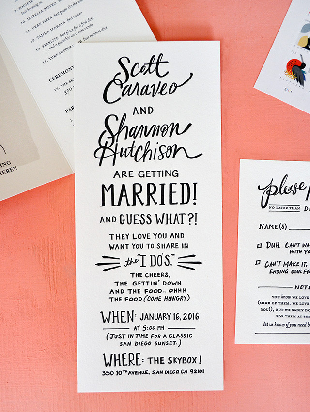 An elegant and well designed wedding invitation incorporating a great fonts and strong design. Available with our creative bar service based in Surrey.