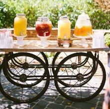 Vintage cart beverage display available to hire from The Drunken Jockeys