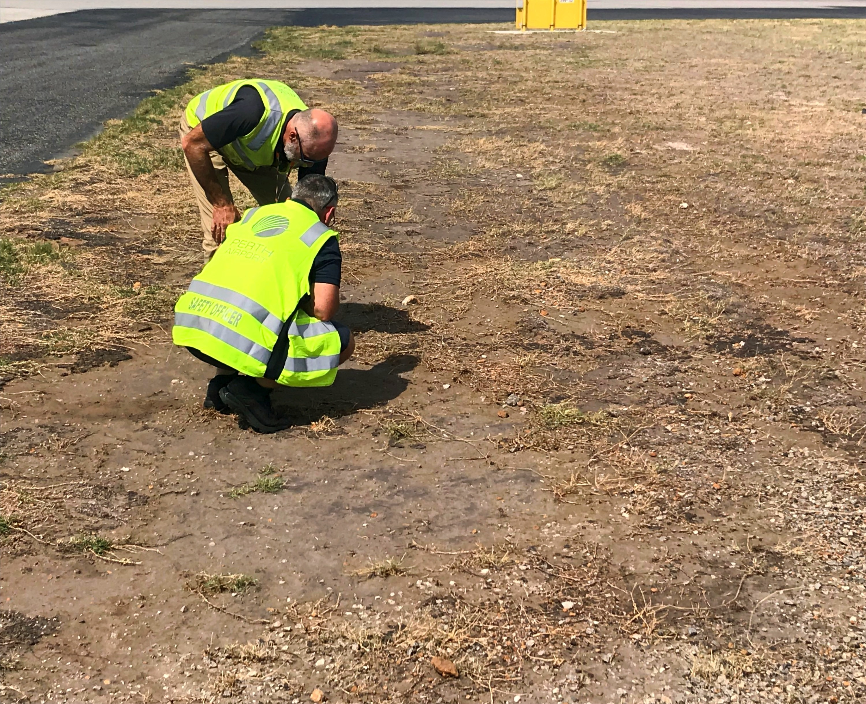 Perth Airport erosion control trial - pre-works site inspection..