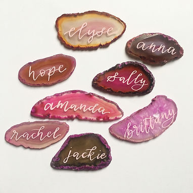 agate stone place cards