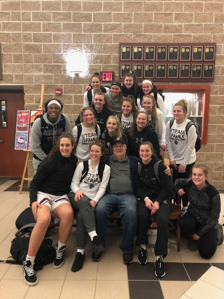 super Fan 2020 with girls basketball tea