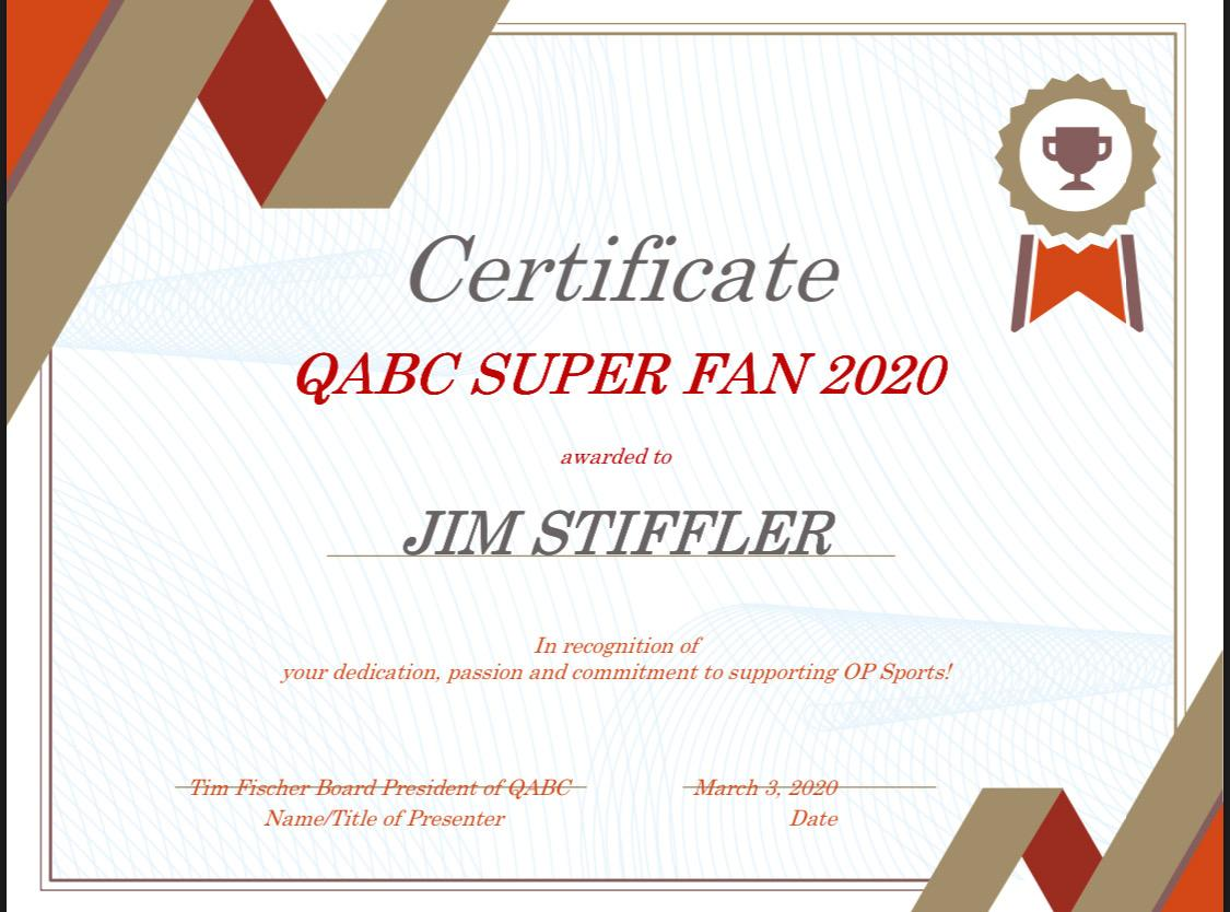 Super Fan 2020 certificate
