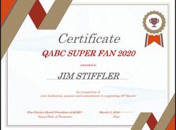 Super Fan 2020 certificate