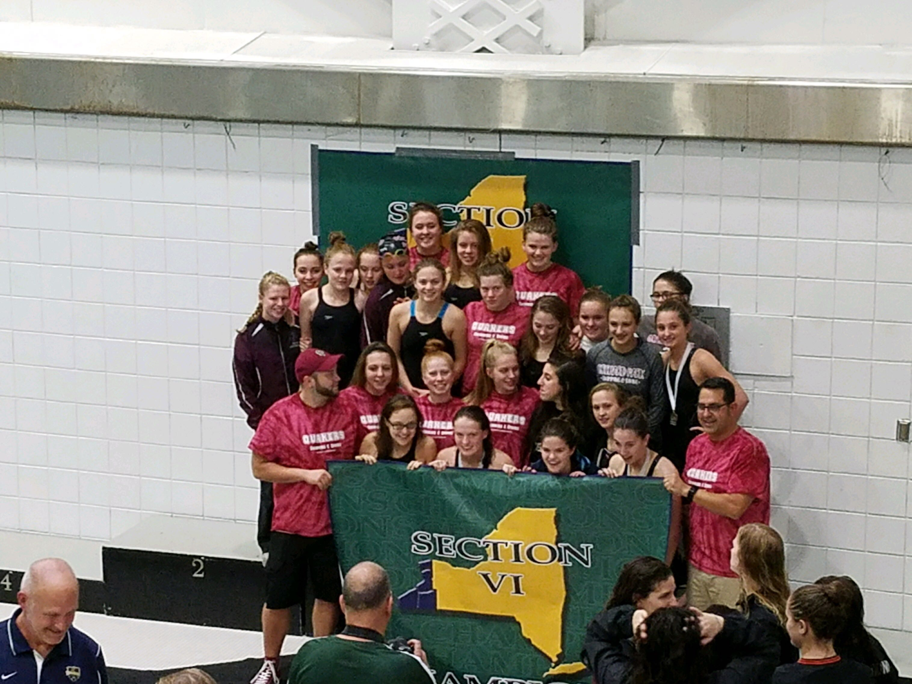 girls Varsity swim section champs 2017