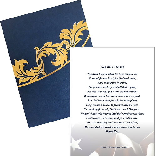 Blue/White Poem in Certificate