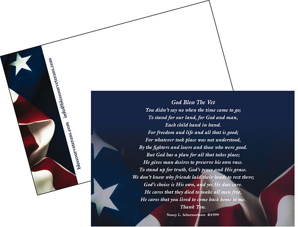 POST CARD                           ITEM #BOVPC-01  Beautiful 4 x 6 four-color post card with poem on front and space on the back side for address or personal message.