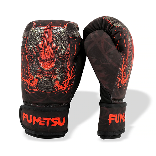 FUMETSU RAMPAGE KIDS WASHABLE BOXING GLOVES BLACK/RED 8oz