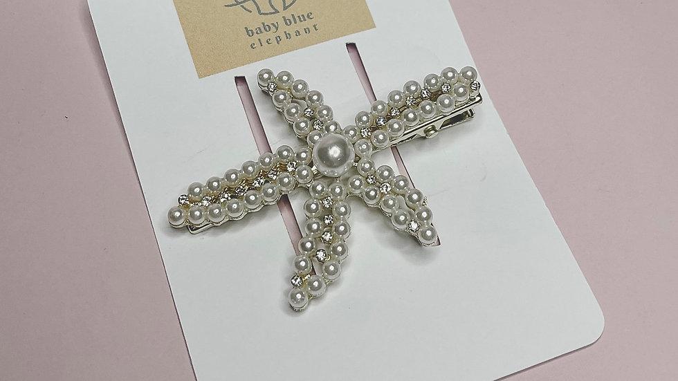 Pearl Starfish Slide Hair Clip