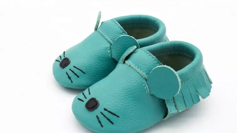 Blue Mouse Leather Moccasins