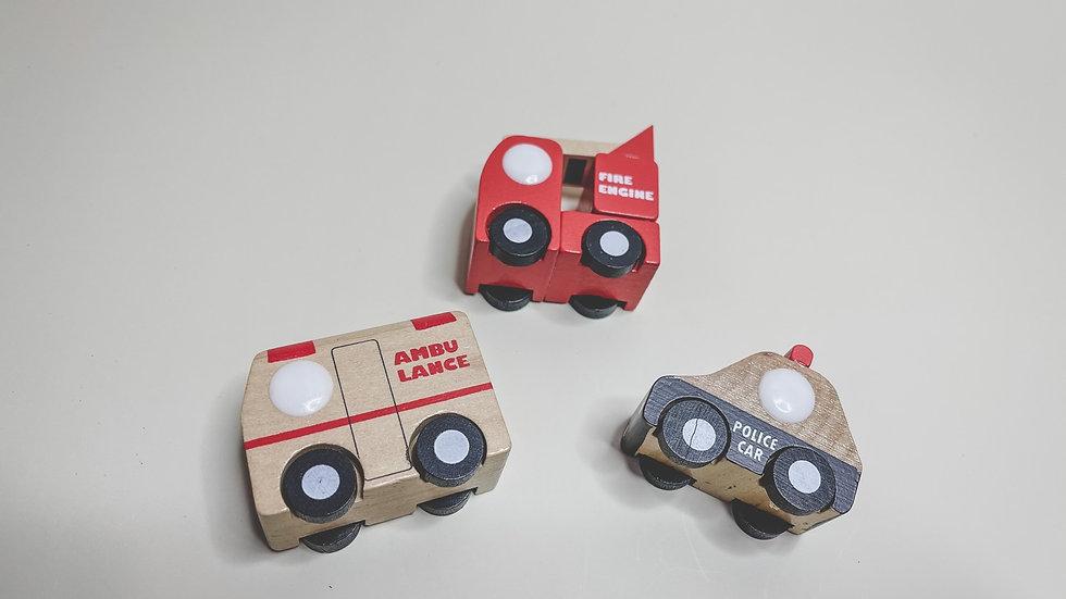 Emergency Service Wooden Toy Car Set