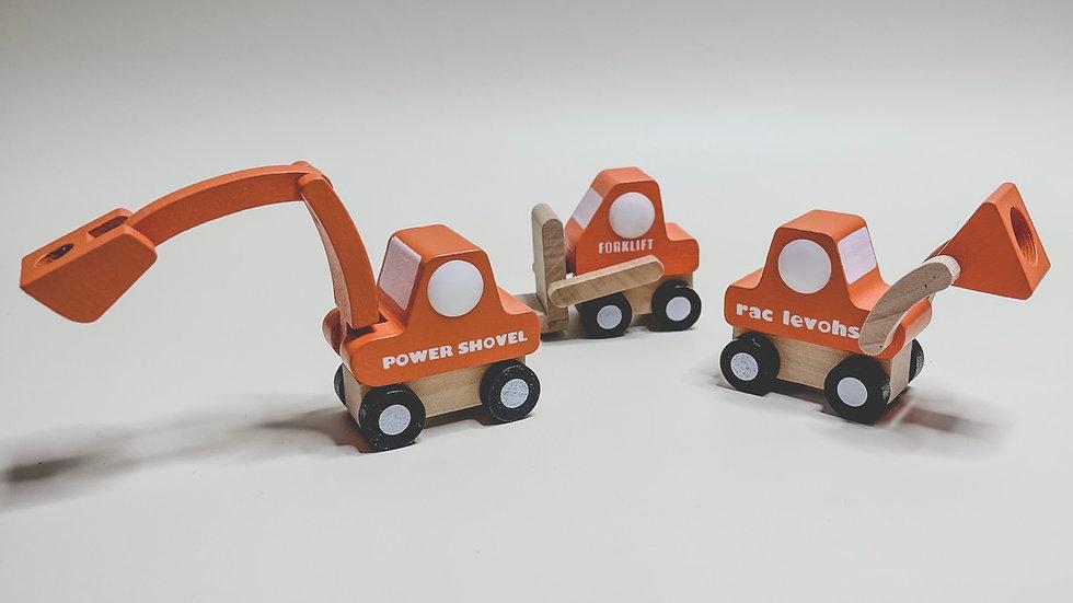 Digger Wooden Toy Car Set