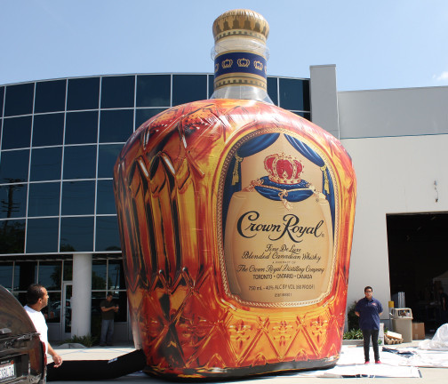 Replica Inflatables: 25 Foot Crown Royal Bottle Angle View