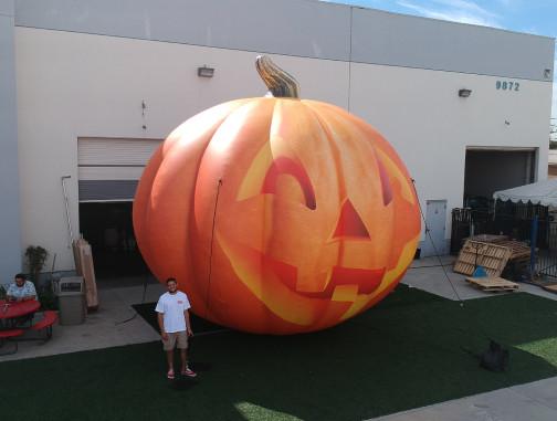 Custom Inflatables: Pumpkin Jack O' Lantern Aerial Side