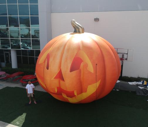 Custom Inflatables: Pumpkin Jack O' Lantern Aerial Front