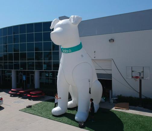 Replica Inflatables: 25 foot Fido Dog Aerial Angle