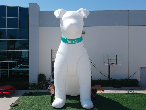 Replica Inflatables: 25 foot Fido Dog Front View