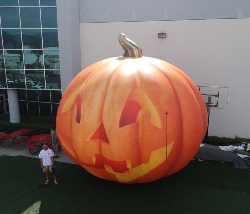 Custom Inflatables: Pumpkin Jack O' Lantern Aerial Angle