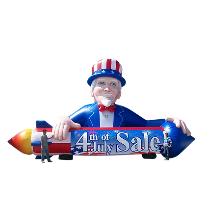 Inflatable Uncle Sam Holding Rocket