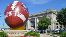 NFL Hall of Fame footballl on a kicking  tee