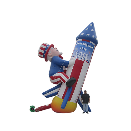 Inflatable Uncle Sam w/Rocket