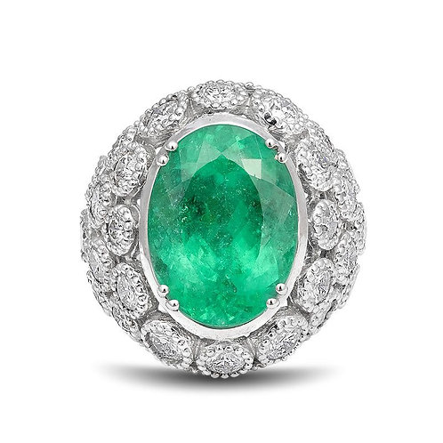 14k White Gold 14.52ct TGW Certified Paraiba Tourmaline and White Diamond Ring