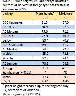 Regional Silage Variety Trials: Oat Varieties