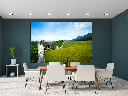 Green Fields with White Fence from Oregon Depoe Wall Art Canvas
