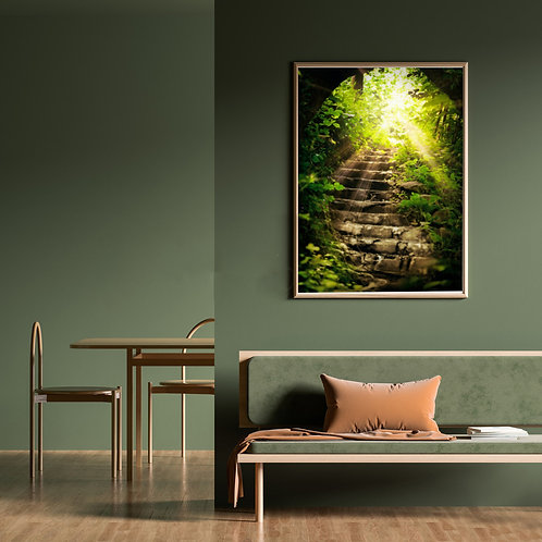 Path, road from darkness to light, a wooden ladder among treesWall Art 16x20