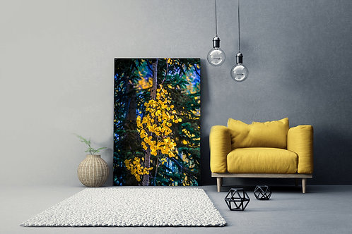 Golden Leaves Colorful Blend Wall Art Canvas 20x16